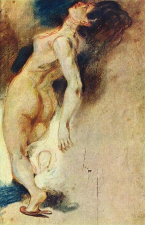 Female Nude Killed from Behind by Eugene Delacroix