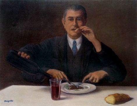 The magician (Self-portrait with four arms) by Rene Magritte