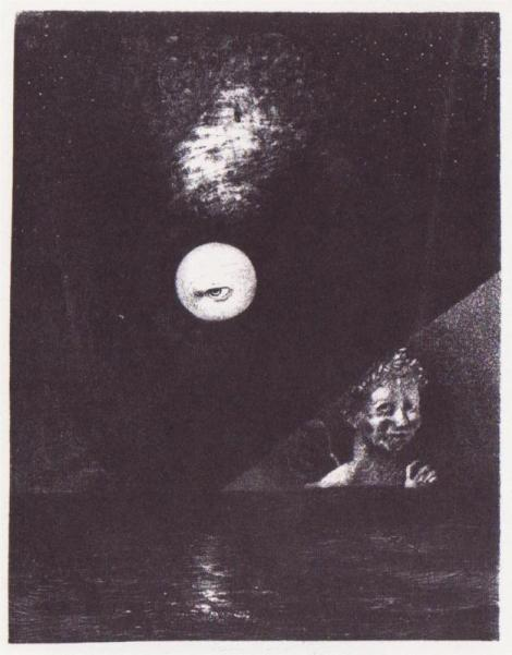 On the Horizon, the Angel of Certitude, and in the Dark Sky, A Questioning Glance by Odilon Redon