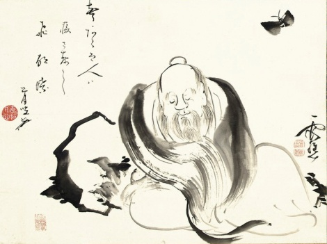 Zhuangzi dreaming of a butterfly (or a butterfly dreaming of Zhuangzi) by Ike no Taiga