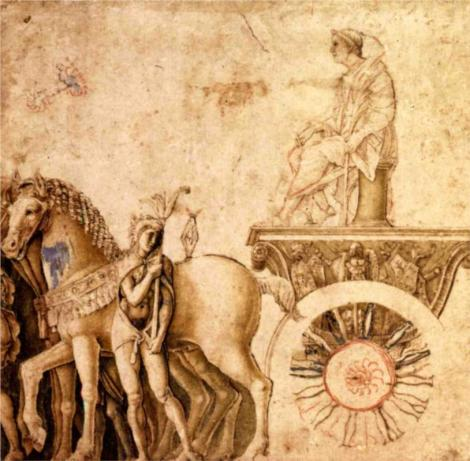 Julius Caesar on his triumphal car by Andrea Mantegna