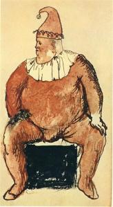 Seated fat clown by Pablo Picasso
