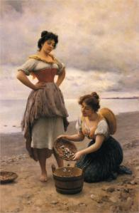 Gathering shells by Eugene de Blaas
