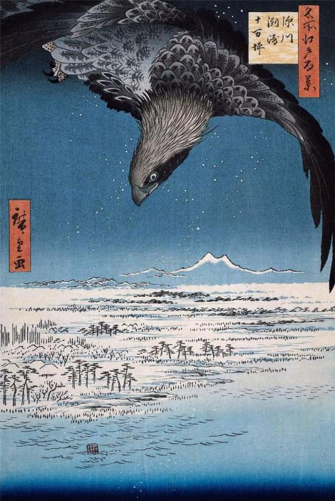 Eagle Over 100,000 Acre Plain at Susaki, Fukagawa (Juman-tsubo) by Hiroshige