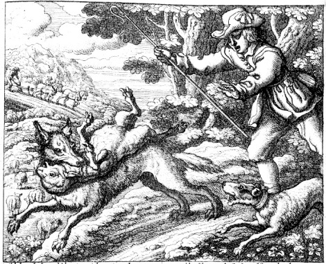Francis Barlow's illustration to the boy who cried wolf