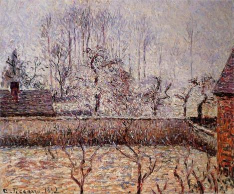 Landscape, Frost and Fog, Eragny by Camille Pissarro