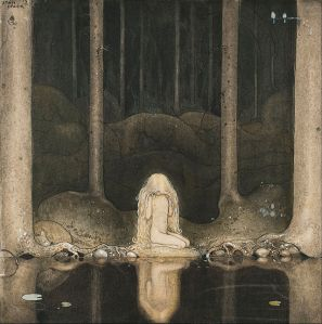 Pincess tuvstarr by a forest tarn - by John Bauer