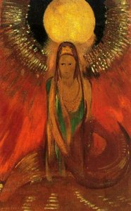 The flame (goddess of fire) by Odilon Redon