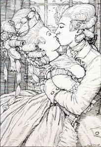 The Kiss. Illustration to the Book of the Marquise by Konstantin Somov