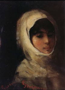 Giri with white veil by Nicolae Grigorescu