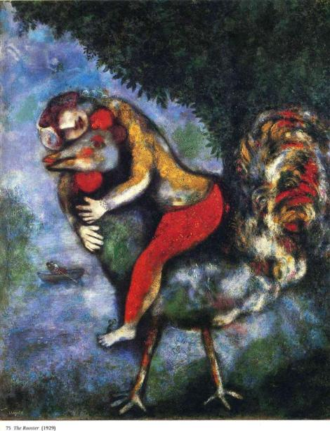 The rooster by Marc Chagal