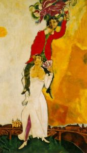 Double portrait with a glass of wine by Marc Chagal