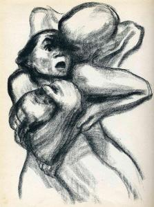 Death seizing a woman by Kathe Kollwitz