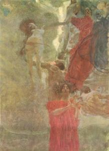 Painted composition design to medicine by Gustav Klimt