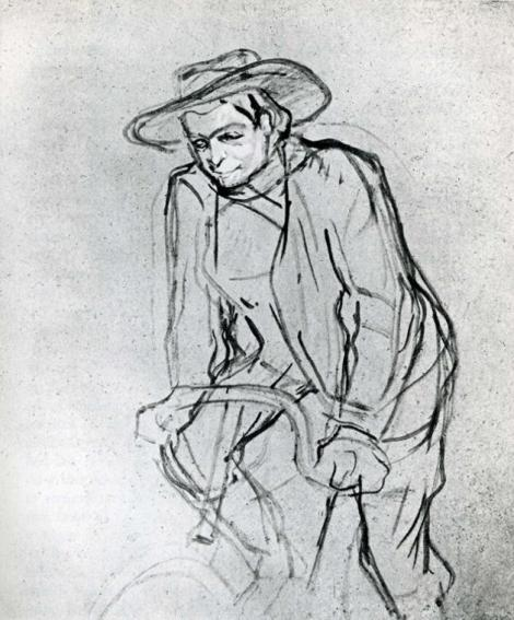 Aristide Bruant on His Bicycle by Henri de Toulouse-Lautrec