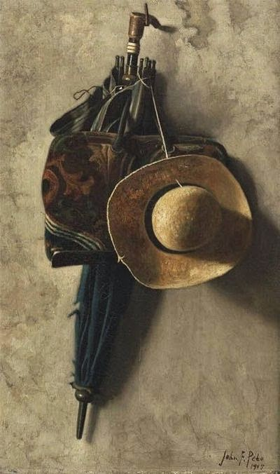 Still Life with a Hat, an Umbrella, and a Bag. John Frederick Peto