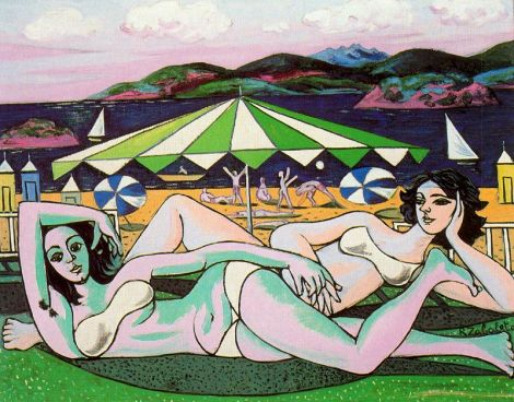 Bathers on the beach under umbrella by Rafael Zabaleta