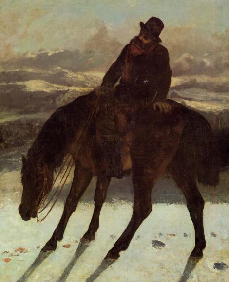 Hunter on Horseback, Redcovering the Trail by Gustave Courbet