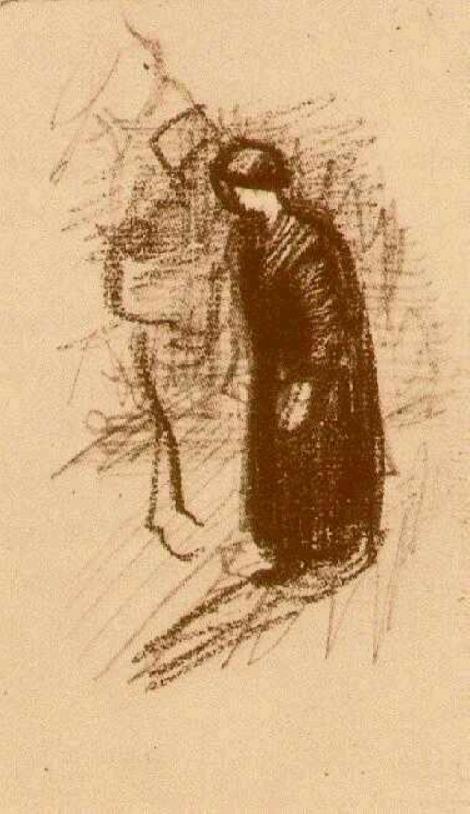 Woman in dark dress walking by Vincent van Gogh.