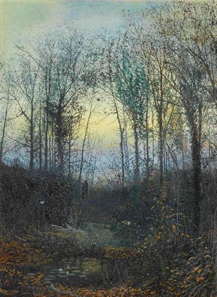 Wooded valley, probably Bolton Woods Lovers in a woodland clearing a pair by John Atkinson Grimshaw