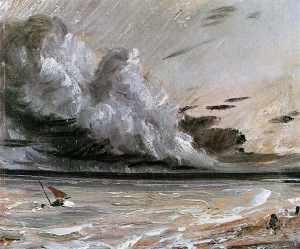 Coast scene with breaking cloud Sun by John Constable