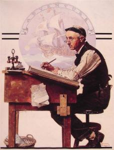 Daydreaming Bookkeeper (Adventure) by Norman Rockwell