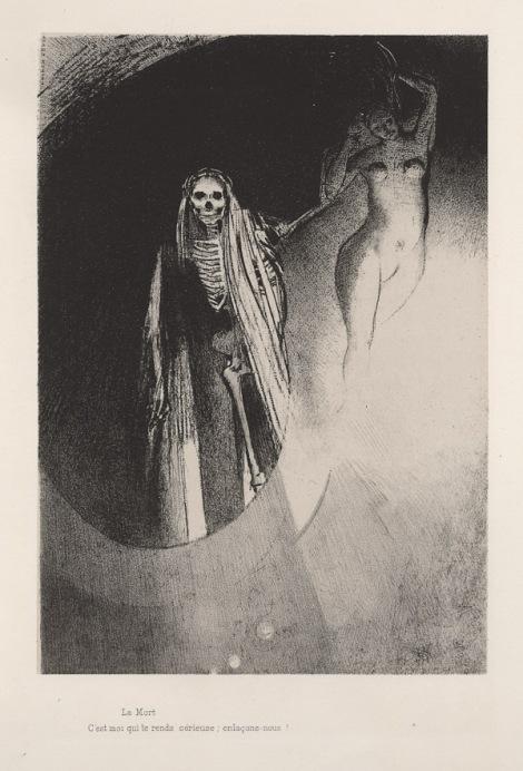 La Mort: C'est moi qui te rends sérieuse; enlaçons-nous by Odilon Redon