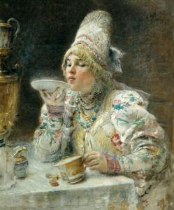 Tea drinking by  Konstantin Makovsky