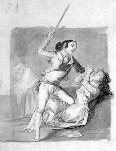 Woman battered with a cane by Francisco Goya