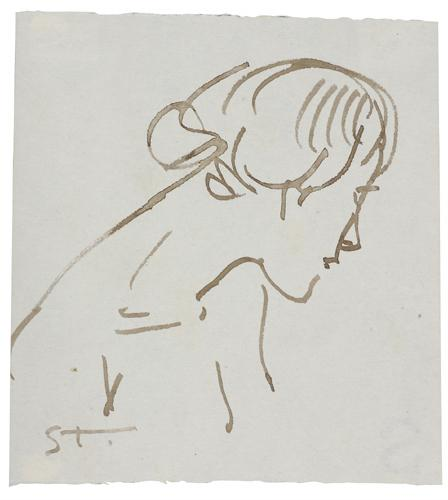 Woman ink profile by Theophile Steinlen