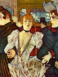 La Goulue Arriving at the Moulin Rouge with Two Women by  Henri de Toulouse-Lautrec