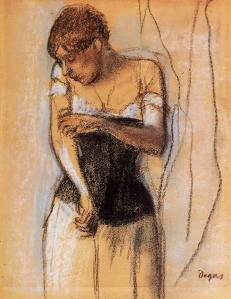 Woman touching her arm by Edgar Degas