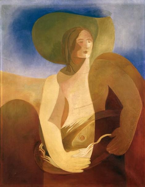 Woman with fish by Aleksandra Ekster