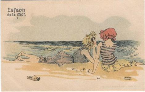Boys and girls at sea by Raphael Kirchner