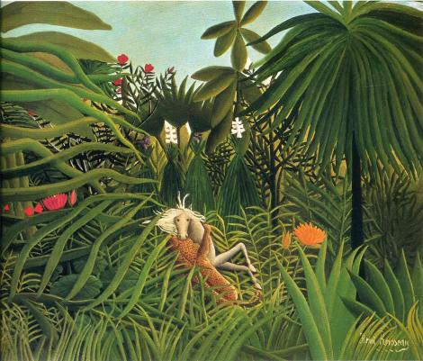 Jaguar attacking a horse by Henri Rousseau