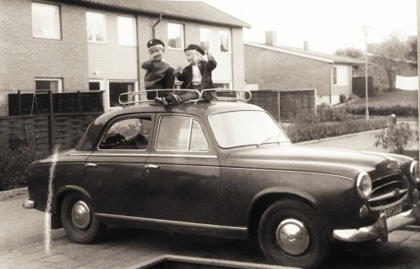 Me and my sister with the old car