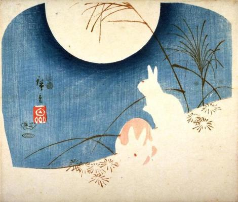 Untitled (Two Rabbits, Pampas Grass, and Full Moon) by  Hiroshige