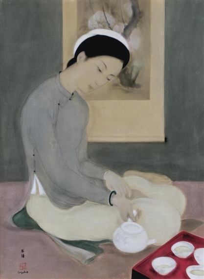 elegant lady pouring tea by Le Pho