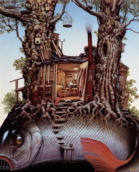 A fisherman's shack by Jacek Yerka