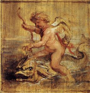 Cupid riding a dolphin by Peter Paul Rubens