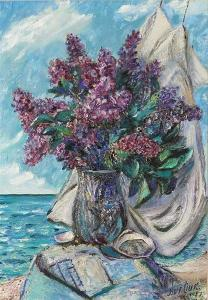 Lilacs by the sea by David Burliuk