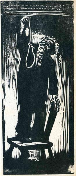 Old man with noose by Kathe Kollwitz