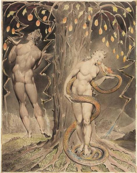 The temptation and fall of  Eve by William Blake