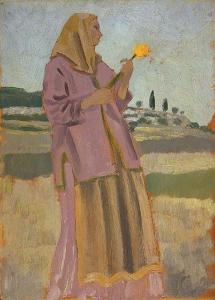 Woman with a daffodil  by Augustus John