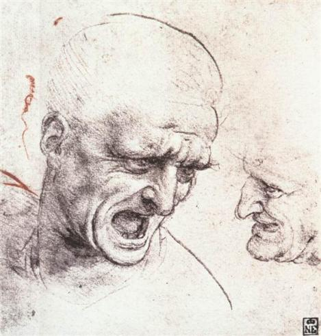 Studies For The Heads Of Two Soldiers In 'The Battle Of Anghiari' by Leonardo da Vinci