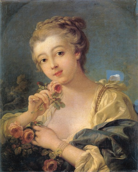 Young woman with a bouquet of roses by François Boucher