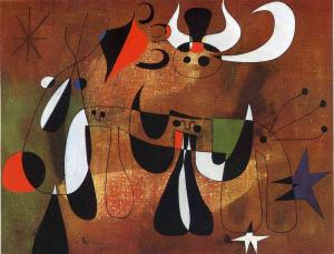 Characters in the night by Joan Miro