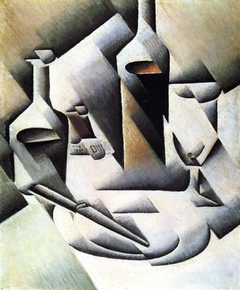 Bottles And Knife by Juan Gris