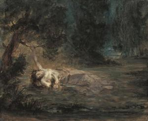 The death of Ophelia by Eugene Delacroix
