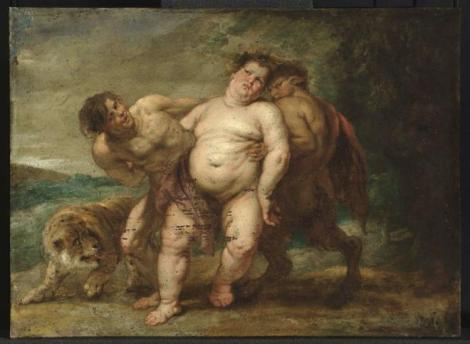 Drunken Bacchus with faun and satyr by Peter Paul Rubens